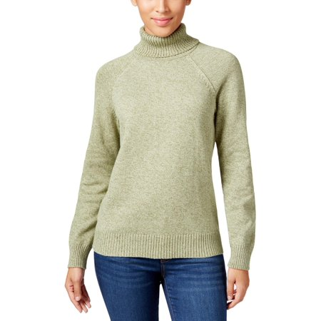 Karen Scott Womens Petites Marled Ribbed Trim Turtleneck Sweater Green PL