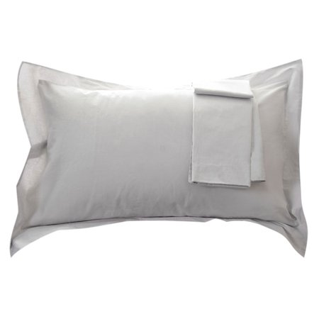Egyptian Cotton Pillow Sham Oxford Pillowcase Silver Gray 20 x 36 Inch Set