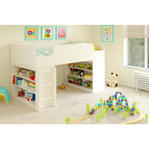 Cosco Elements Loft Bed Twin with two 3-Shelf Bookcases, White Stipple