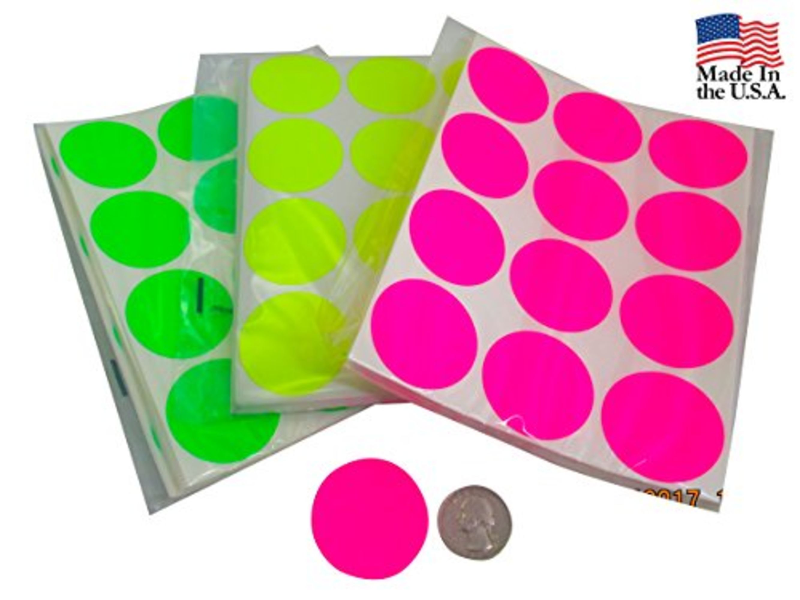 Circle stickers color coding labels super bright fluorescent neon yellow green and pink round