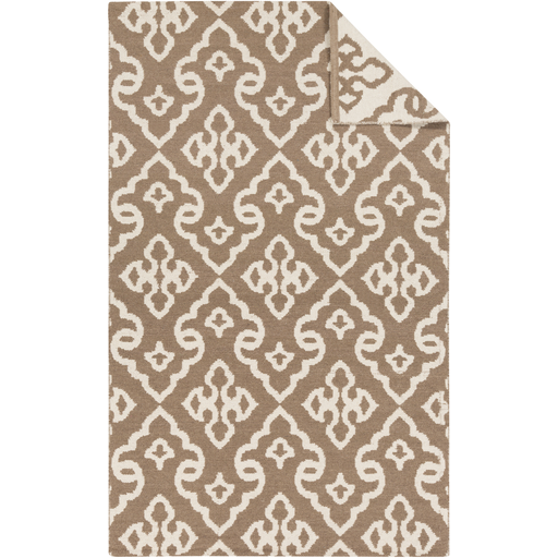2' x 3' Chi-Chi Brown and Snow White Hand Woven Wool Reversible Area Throw Rug