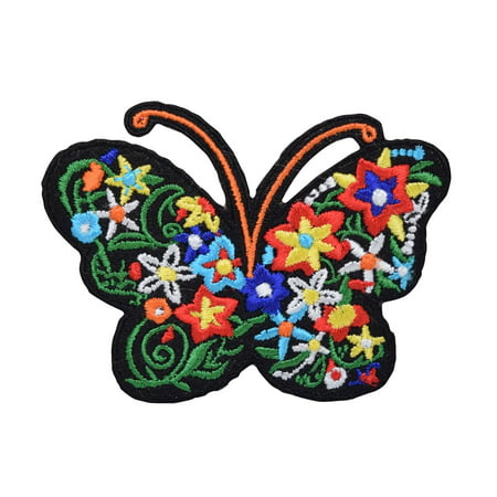 Butterfly - Silhouette with Flowers - Floral - Iron on Applique/Embroidered -