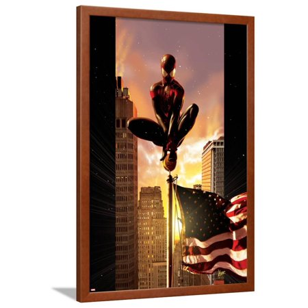 Ultimate Comics Spider-Man No.7 Cover: Spider-Man Sitting on Top of a Flag Pole in the City Superhero Framed Poster Wall Art By Kaare Andrews ()