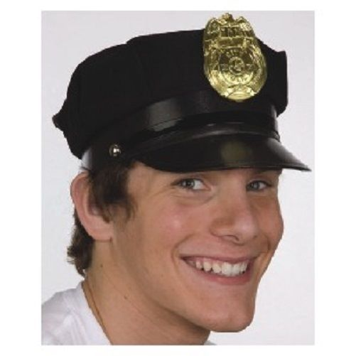 Black Jacobson Hat Company Police Hat with Bright Gold Plastic Badge
