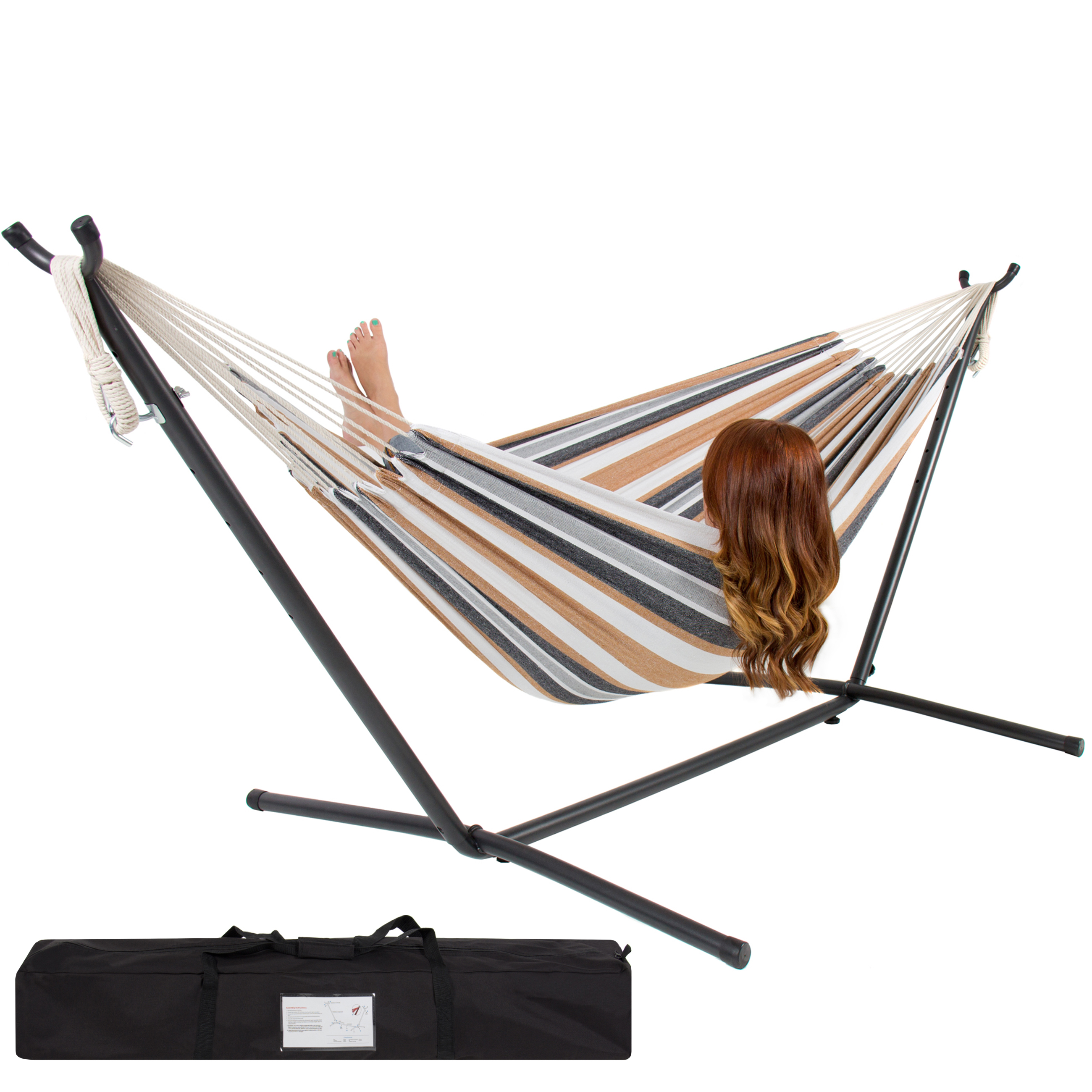 Best Choice Products Double Hammock Set w  Steel Stand, Carrying Case for Indoor and... by
