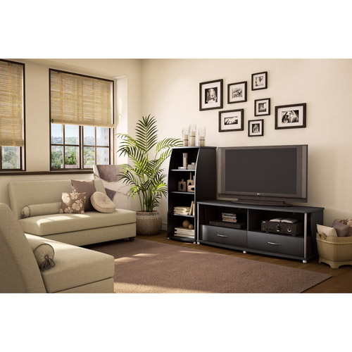 South Shore City Life Collection TV Stand (60;;) and Media Tower Set, Black