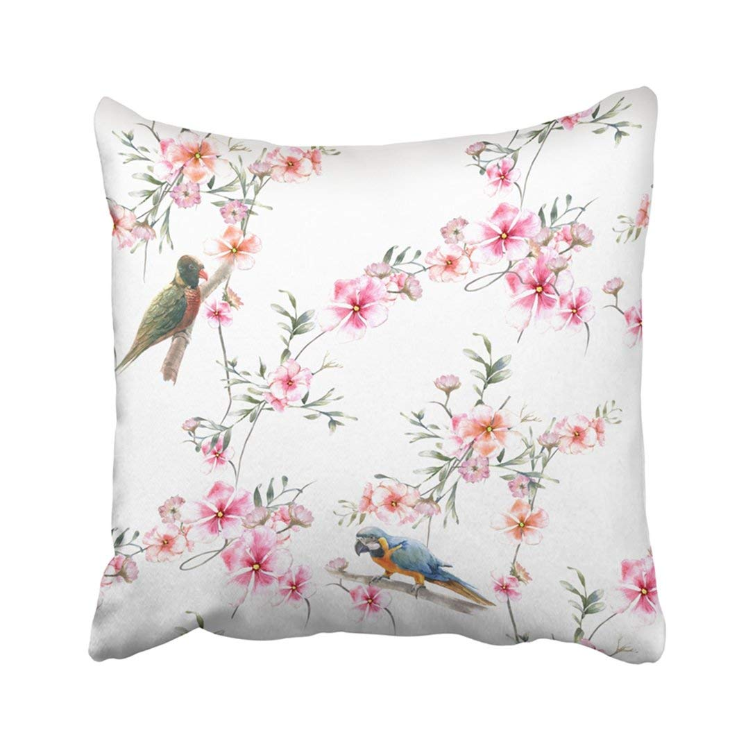 WOPOP Colorful Hibiscus Watercolor Painting With Birds And Flowers On White Green Abstract Brush Pillowcase Throw Pillow Cover Case 16x16 inches