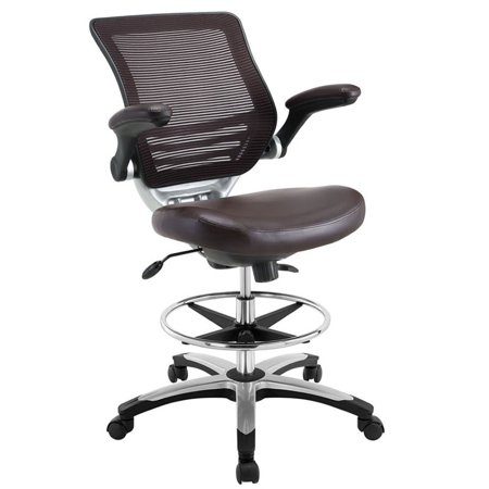 Hawthorne Collection Faux Leather Mesh Drafting Stool in Brown ()