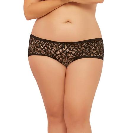 - Sexy Plus Size Crochet Lace Satin Ribbon Panty Boyshort