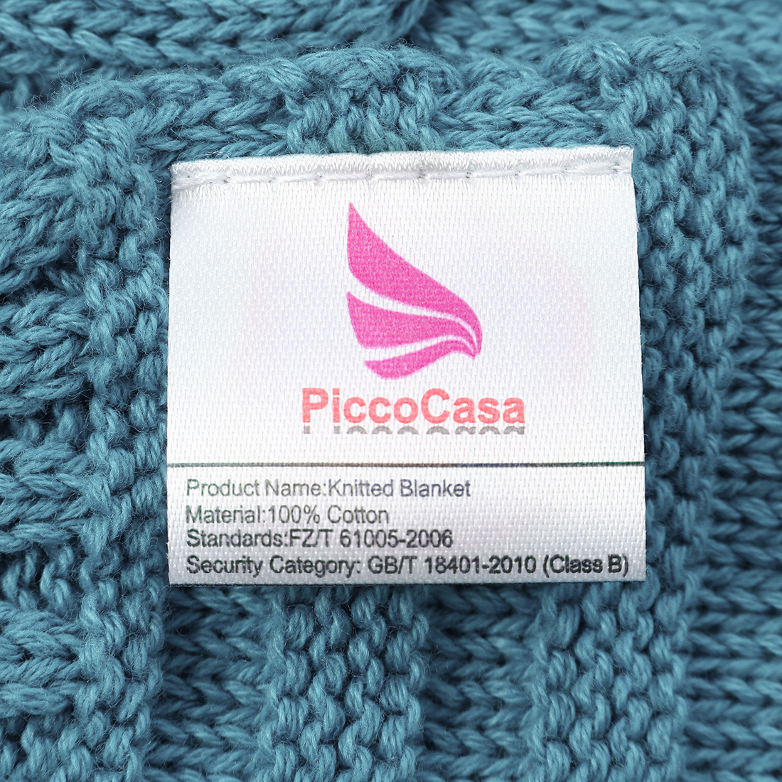 "Cotton Blanket Soft Warm Cable Knit Throw Home Bedding Blanket Teal Blue 50""x60"" - image 3 de 8"