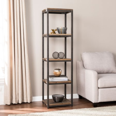 Nettier Reclaimed Wood Media Bookcase, Industrial Style, Rustic Black w/ Distressed Fir By River Street Designs ()