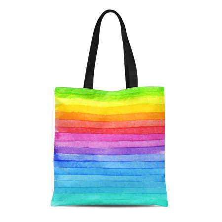 Rainbow Horses Tote (ASHLEIGH Canvas Bag Resuable Tote Grocery Shopping Bags Blue Rainbow Striped Watercolor Bright Colors Composition for Colorful Stripe Tote Bag)