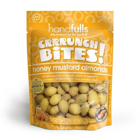 CrrrunchBites Honey Mustard Almonds (3-Pack) by Handfulls. Whole Roasted Almonds Wrapped in a Potato Chip for a Satisfying Crunch. Gluten-free, Non-GMO, Vegetarian (3.75 oz Bags) 3-Pack