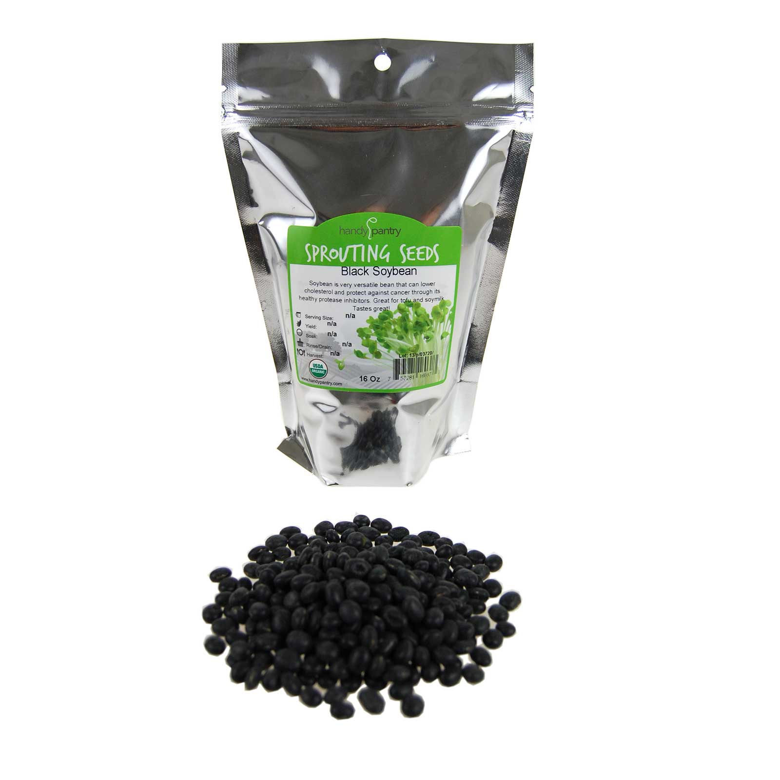Organic Black Soy Beans -1 Lb - Black Soybeans - Non-GMO - For Cooking, Making Tofu & Soymilk / Soya Milk