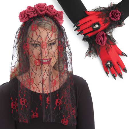 Lacey Halloween Skull & Roses Veil and Glove Costume Set - Perfect for Halloween Party or Halloween Wedding Accessories, One Size Fits All, Black / Red