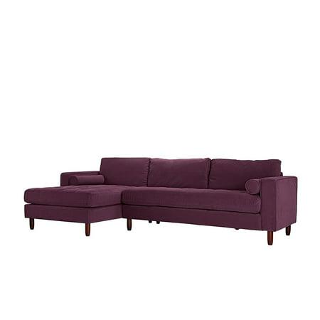 Mid-Century Modern Tufted Velvet Sectional Sofa, L-Shape ...