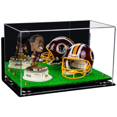 Versatile Deluxe Acrylic Display Case - Medium Rectangle Box with Mirror, Wall Mount, Gold Risers and Turf Base 15