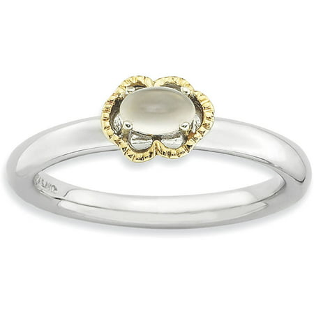 Moonstone Sterling Silver and 14kt Gold Polished Ring