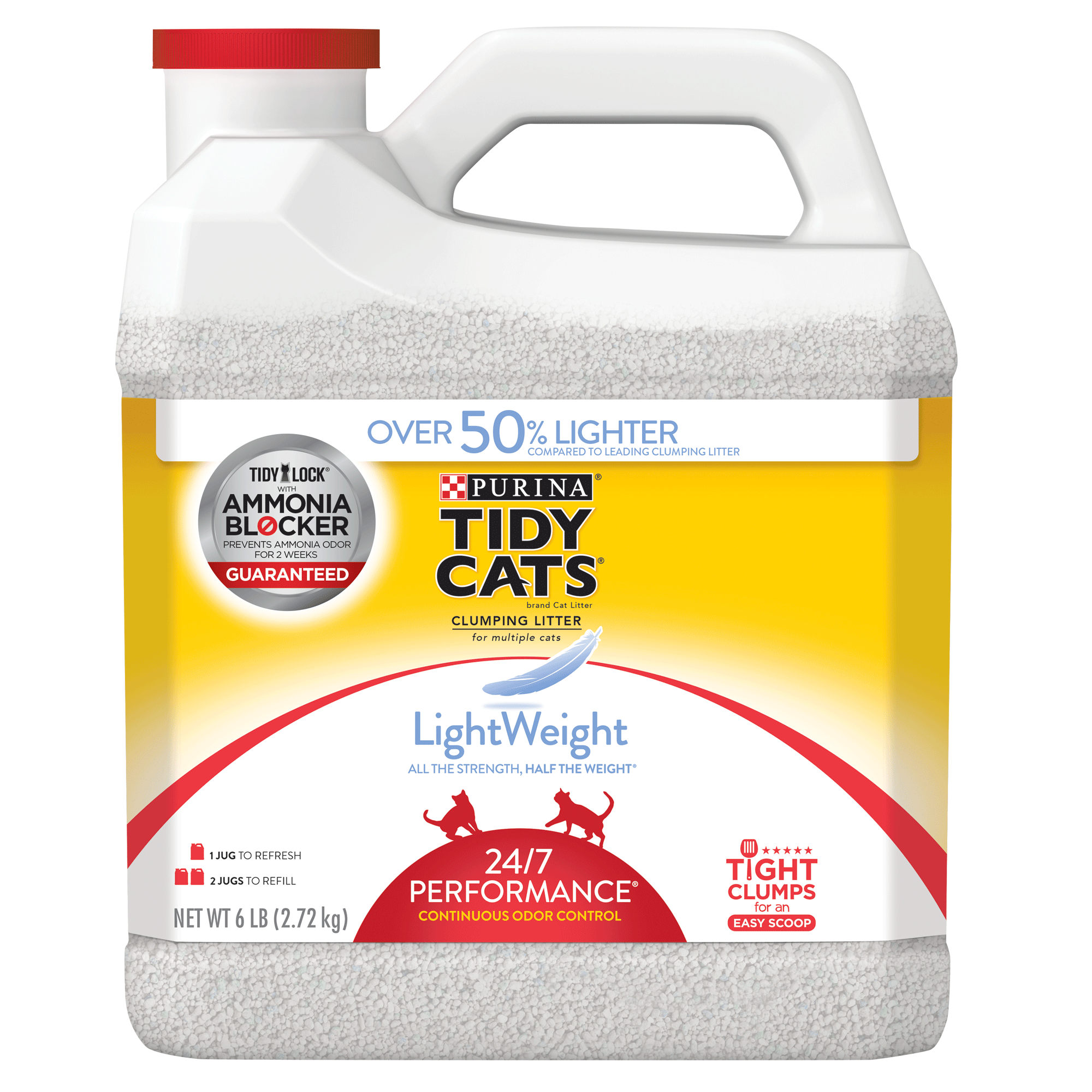 Purina Tidy Cats LightWeight 24/7 Performance for Multiple Cats Clumping Cat Litter, 6-lb Jug