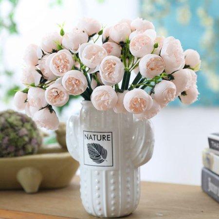 KABOER 27 Heads Artificial Tea Rose Silk Flowers Fake Bouquet For Home Wedding Decor (Rose Bouquet Tea Set)