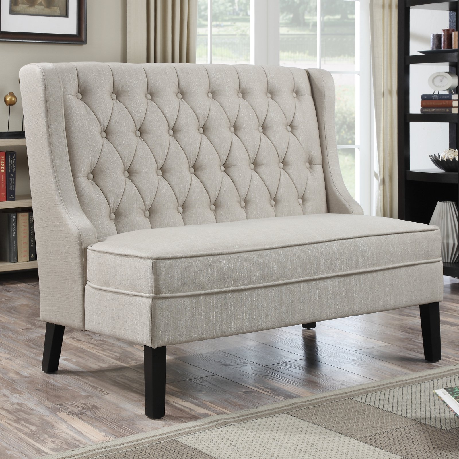 Home Meridian Banquette Bench - Tuxedo Oatmeal