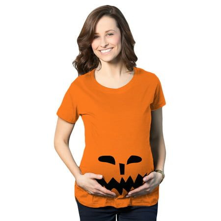 Maternity Spikey Teeth Pumpkin Face Halloween Pregnancy Announcement T shirt - Maternity Halloween Top