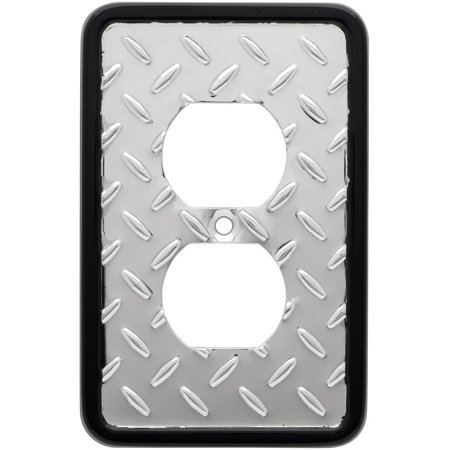 Franklin Brass Diamond Plate Single Duplex Wall Plate in Polished Chrome (Chrome Plated Single)