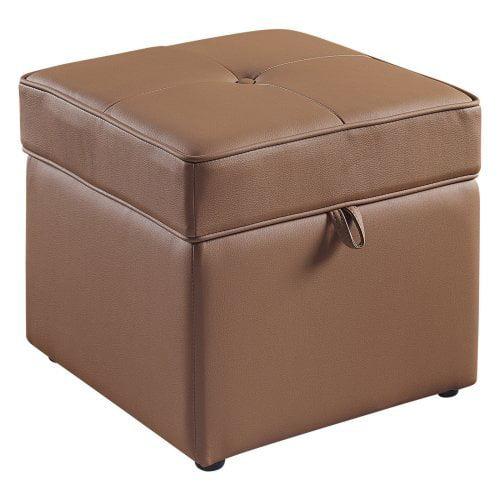 Tova Faux Leather Storage Ottoman - Bark Brown