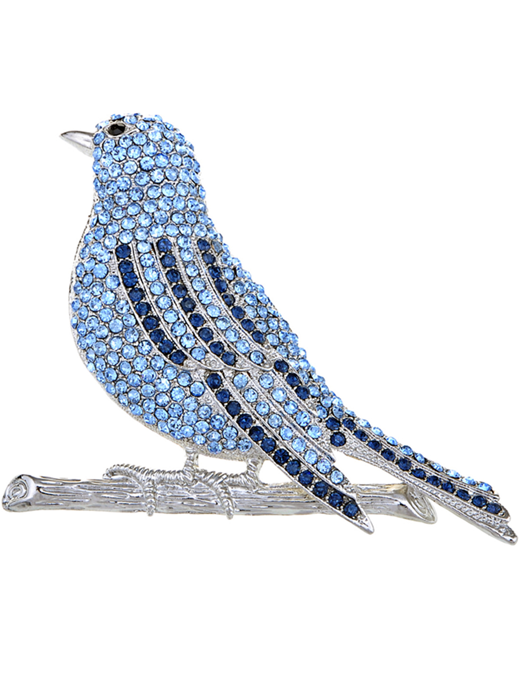 Hand Crafted Silver Tone Blue Bird Fly Sapphire Crystal Rhinestone Pin Brooch by