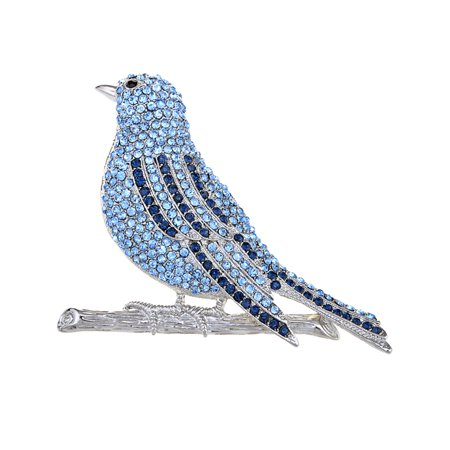 Hand Crafted Silver Tone Blue Bird Fly Sapphire Crystal Rhinestone Pin Brooch](Halloween Pins Craft)