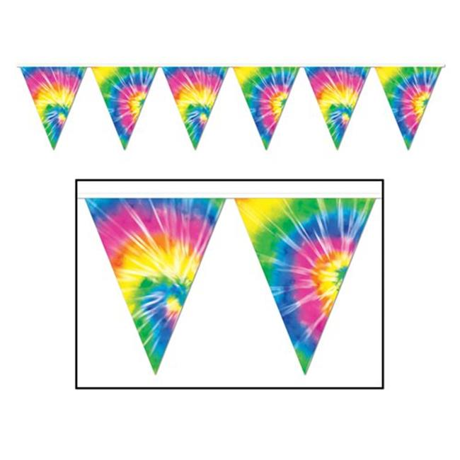 Beistle 57740 Tie-Dyed Pennant Banner Pack of 12