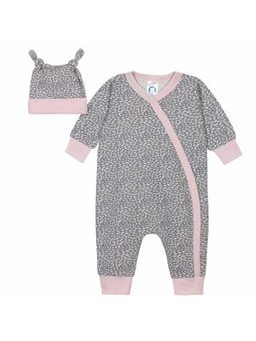 Gerber Baby Girl Coverall & Cap, 2pc Outfit Set