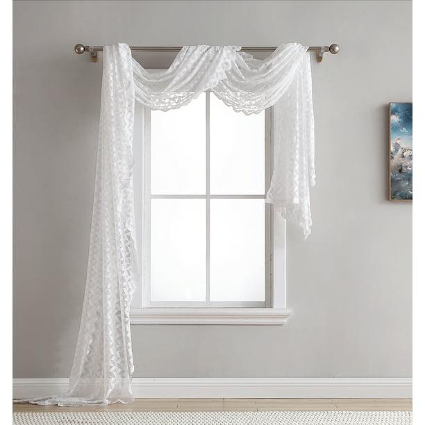 Hlc Me Herringbone Lace Sheer Window Curtain Scarf Valance 40 W X 216 L Inch 1 Lace Scarf Walmart Com Walmart Com