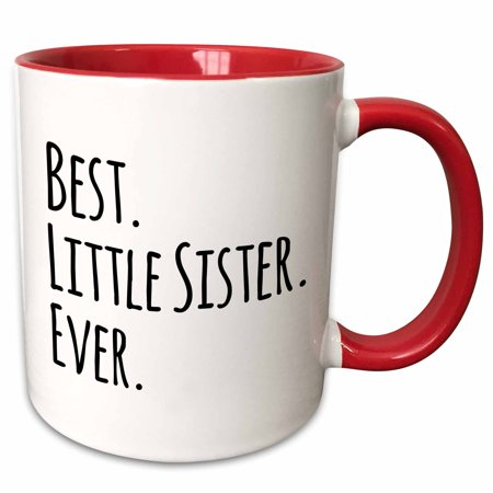 3dRose Best Little Sister Ever - Gifts for younger and youngest siblings - black text - Two Tone Red Mug,