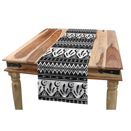 Aztec Table Runner, Tribal Geometric Bohemian Design of Mexican Kingdom Moon Feather and Triangles, Dining Room Kitchen Rectangular Runner, 3 Sizes, by Ambesonne