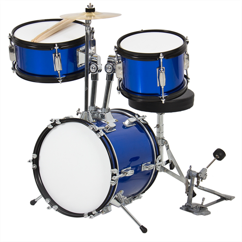 "Kids Drum Set 3 Pc 13"" Beginners Complete Set with Throne, Cymbal and More- Blue by"