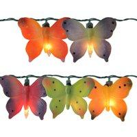 J. Hofert Co 10ct Butterfly Novelty Christmas Lights Multi-Color - 9' Green Wire