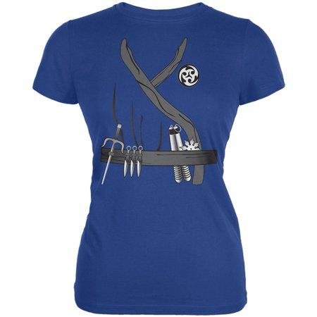Halloween Ninja Assassin Costume Juniors Soft T Shirt - Woman Assassin Halloween Costume
