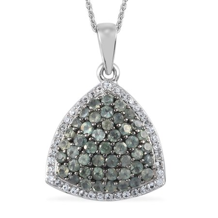 """Shop LC 925 Sterling Silver Round Alexandrite Zircon Necklace Platinum Plated Pendant Bridal Anniversary Engagement Wedding Size 20"""" Ct 1.6 For Women Jewelry"""
