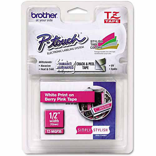 "Brother P-Touch TZ Standard Adhesive Laminated Labeling Tape, 1/2"" x 16.4', White/Berry Pink"