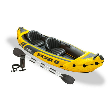 Intex Explorer K2 Yellow 2 Person Inflatable Kayak with Aluminum Oars & Air (Best Pump For Inflatable Kayak)