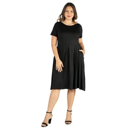 Women's Plus Size Short Sleeve Midi Skater Dress With Pockets
