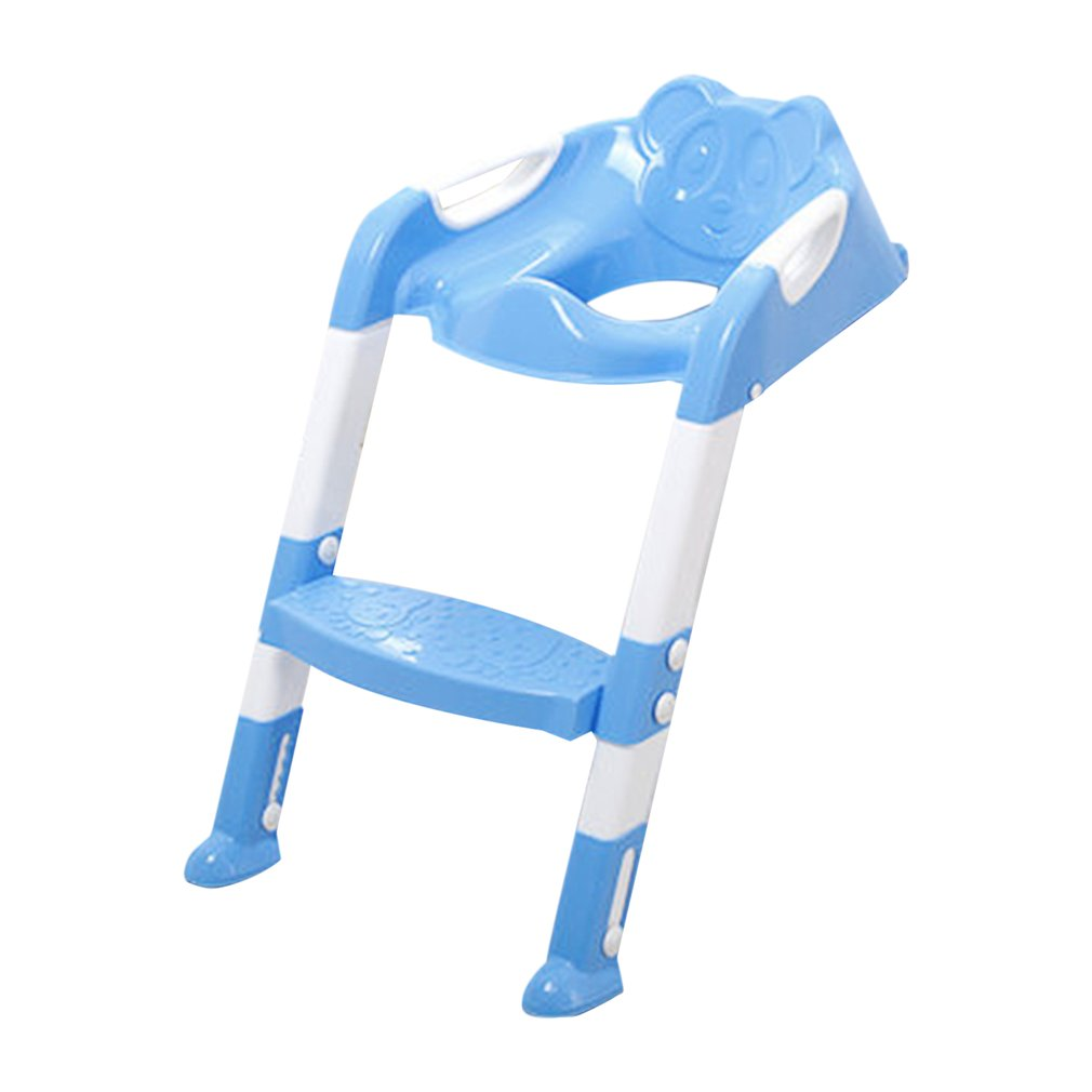 New Commode Foldable Children Potty Seat With Ladder Cover PP Toilet Adjustable Chair Pee Training Urinal Seating Potties for Boys Girls, Blue