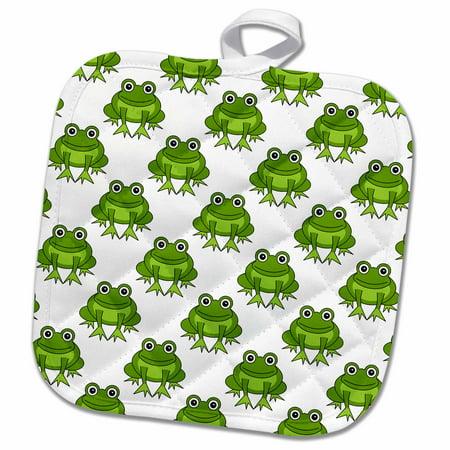 3dRose Cute Green Frog Pattern - Pot Holder, 8 by 8-inch Green Frog Pot