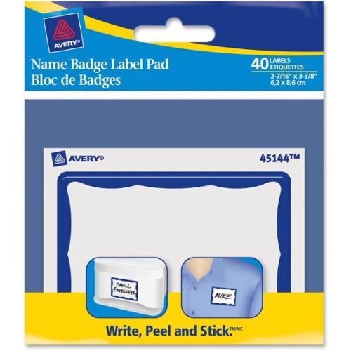 "Avery Name Badge Label Pad - Removable Adhesive - ""3"" Width x 4"" Length - Rectangle - Blue - 40 / Pack"