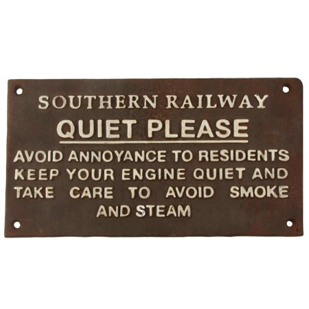 Antique/Vintage Style Metal QUIET PLEASE Engineer Sign Train Room Station Decor](Train Decor)