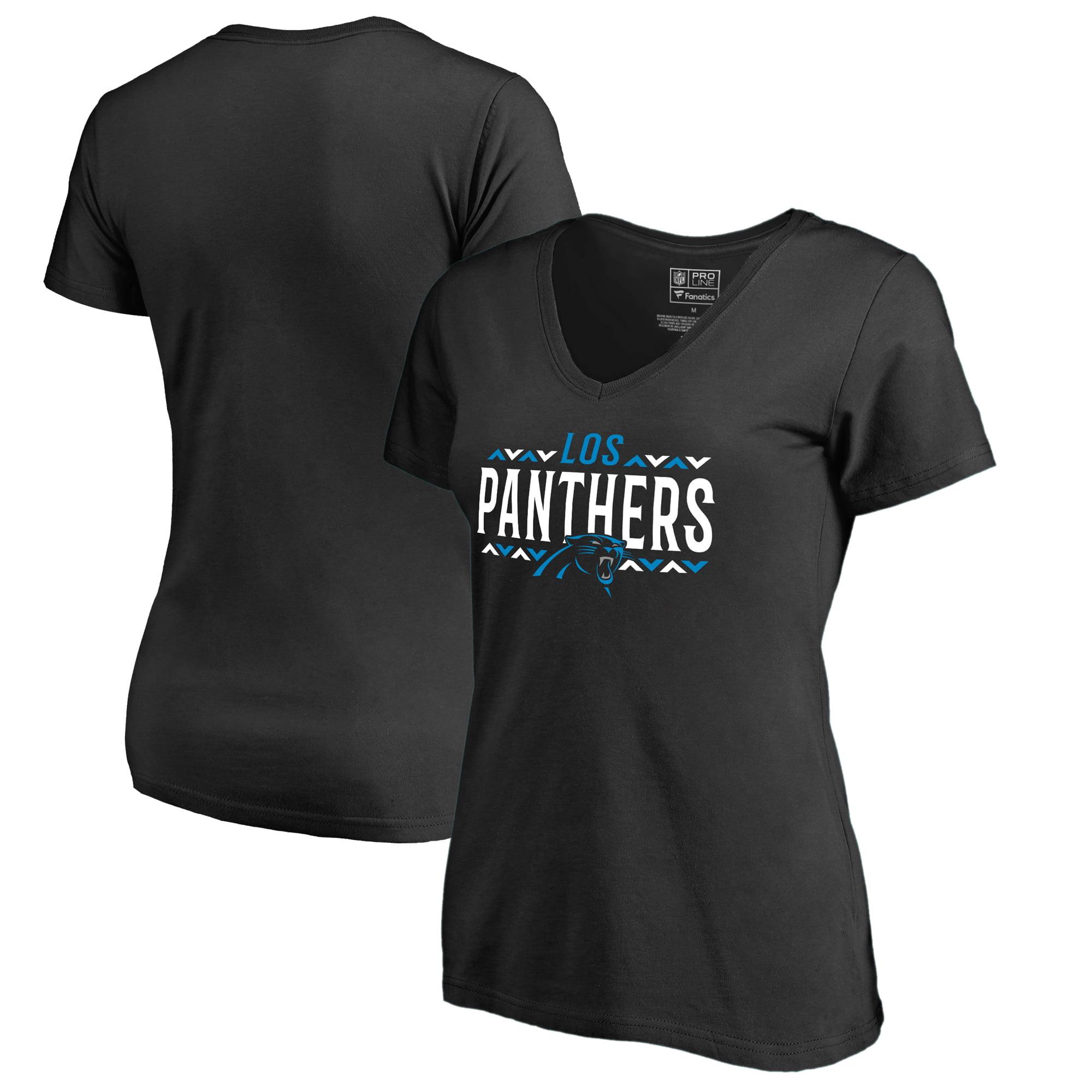 Carolina Panthers NFL Pro Line by Fanatics Branded Women's Arriba V-Neck T-Shirt - Black