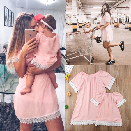 Family Matching Summer Clothes Mother Daughter Girls Pink Lace Party Mini Dress - Family Dress
