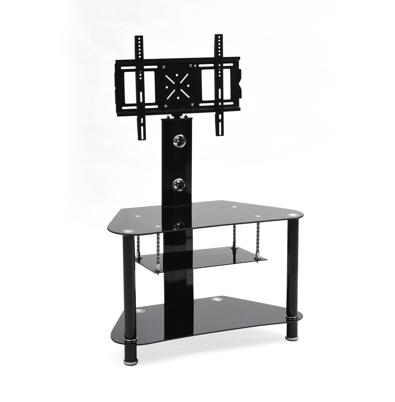 Hodedah Black 3 Shelf Glass Tv Stand With Swiveling Mount For Tvs Up
