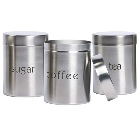 3 Piece Stainless Steel Canister Set, Kitchen Canister Set, Overall: 4.63'' H x 3.63'' W x 3.63'' D; Overall Product Weight 1.45 lb. By Basic (Steel Casters)